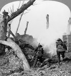 British troops attacking Germans isolated in a captured village, World War I Fine Art Print by English Photographer