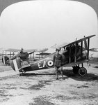 Sopwith Camel aircraft ready for a patrol over the German lines, World War I Fine Art Print by English School
