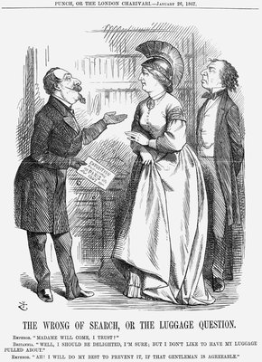The Wrong of Search, or The Luggage Question Poster Art Print by John Tenniel
