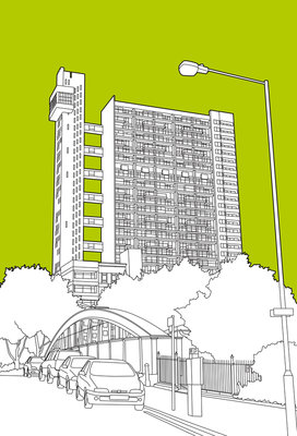 Trellick Tower Poster Art Print by People Will Always Need Plates
