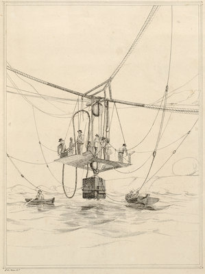 Diving bell used for salvage operations on the wreck of H.M.S.Thetis by John Frederick Fitzgerald De Roos - print