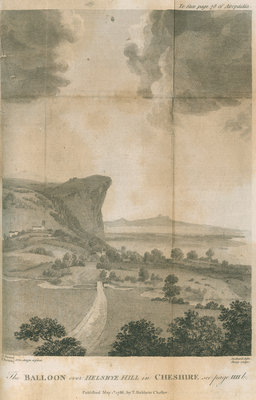 'The balloon over Helsbye Hill in Cheshire' by William Sharp - print