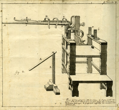 'Ambe of Hippocrates': contraption for repairing dislocated shoulder by Claude-Nicholas Le Cat - print