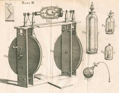 Hauksbee's experiments on light and phosphorus by unknown - print