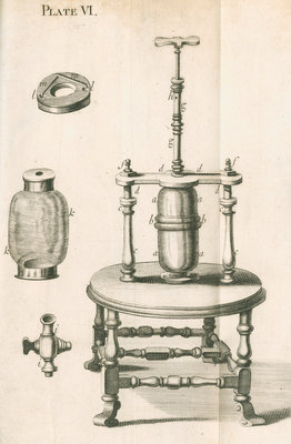 Hauksbee's equipment for pressure experiments by unknown - print