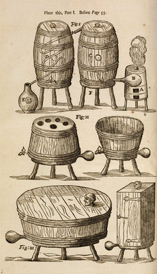 Wooden vessels for distilling, beer-making and bathing by unknown - print