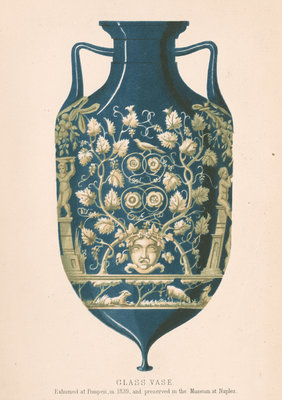 Glass vase from Pompeii by J R Robbins - print