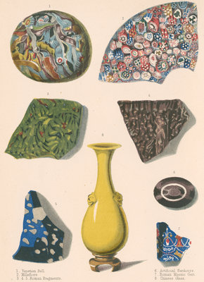 Specimens of fused coloured glass and a Chinese vase by J R Robbins - print