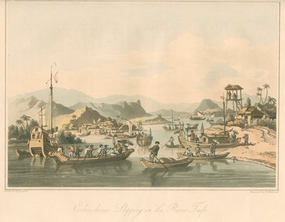 'Cochin chinese Shipping on the River Taifo' by Thomas Medland - print