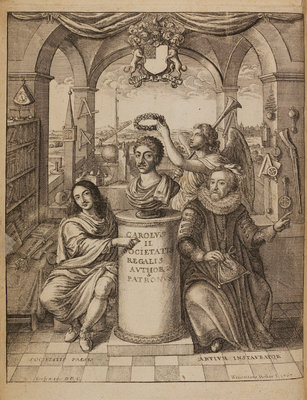 Frontispiece to Thomas Sprat's 'The History of the Royal Society' by Wenceslaus Hollar - print