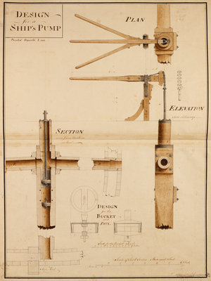 Hand pump for ship by John Smeaton - print