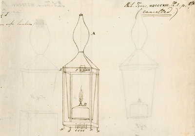 Miners' safety lamp by Humphry Davy - print