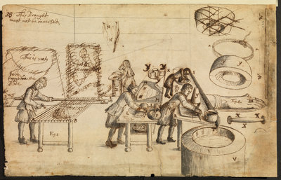 Felt-makers at work by Robert Hooke - print