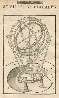 Tycho Brahe's zodiacal armillary sphere by Anonymous - print