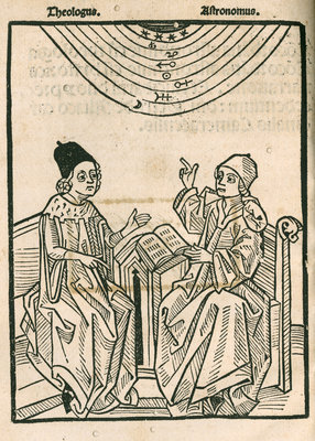 Depiction of a dialogue between a theologian and an astronomer by Anonymous - print