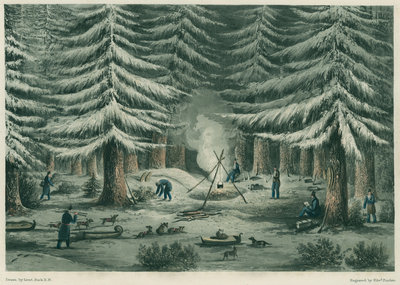 'Manner of making a resting place on a winter night' by Edward Francis Finden - print