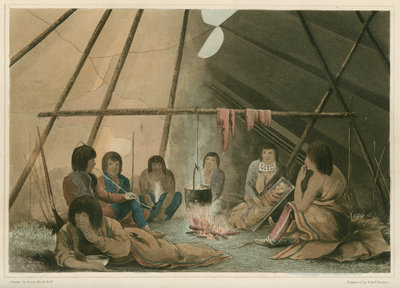 'Interior of a Cree Indian tent, March 25th 1820' by Edward Francis Finden - print