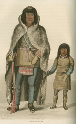 'Portrait of Akaitcho, and his son' by Edward Francis Finden - print