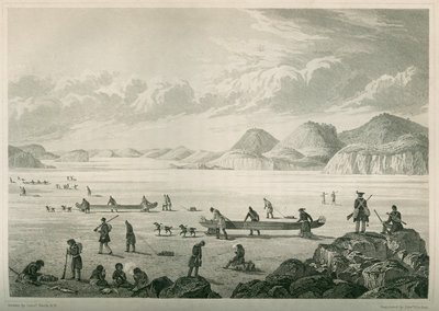 Expedition passing through Point Lata on the ice, June 25 1821 by Edward Francis Finden - print