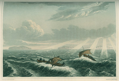 'Canoe broaching to in a gale of wind at sunrise, Aug. 23rd 1821' by Edward Francis Finden - print