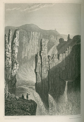 'The Falls of Wilberforce, estimated at 250 feet high' by Edward Francis Finden - print