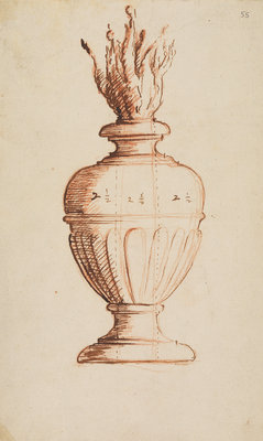 Architectural vase with flames by Anonymous - print