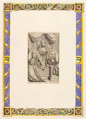 Portraits of Gottfried Wilhelm Leibnitz, Sir Isaac Newton and Samuel Clarke by Anonymous - print