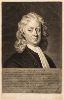 Portrait of Isaac Newton (1642-1727) by James McArdell - print