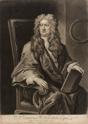 Portrait of Isaac Newton (1642-1727) by John Faber the Younger - print