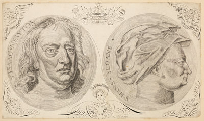 Portraits of Sir Isaac Newton (1642-1727) and Sir Hans Sloane (1660-1753) by Jacob Smith - print