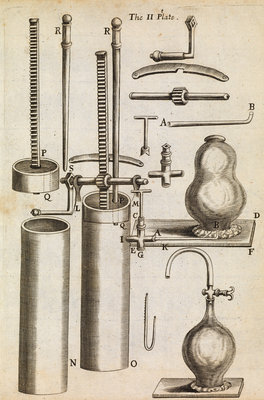 Component parts of Boyle's second air pump by Anonymous - print