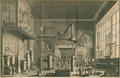 A chemistry laboratory by Pierre-Charles Canot - print