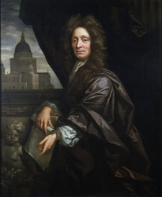 Portrait of Christopher Wren (1632-1723) by John Closterman - print