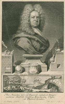 Portrait of Ambrose Godfrey (1680-1756) by George Vertue - print