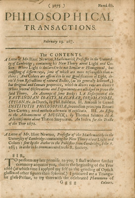 Contents page of Philosophical Transactions of the Royal Society, Volume 6 by Anonymous - print