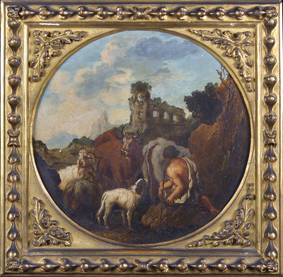 Rustic landscape with shepherd and animals by Philipp Peter Roos - print