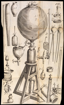 Robert Boyle's air pump by Anonymous - print