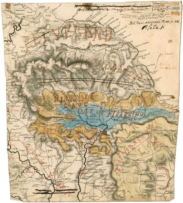 Map Of Cleveland Yorkshire And Kirkdale Cave William Buckland