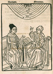 Depiction of a dialogue between a theologian and an astronomer by unknown - print