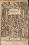 Title page of 'De humani corporis fabrica' by Jan van Rymsdyk - print