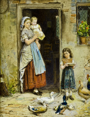 At the Cottage Door Poster Art Print by George Goodwin Kilburne