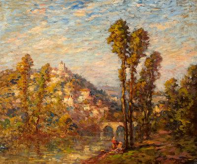 Autumn River Landscape Fine Art Print by French School