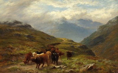 Highland Cattle - A Mountain Road, near Ballachulish, Argyll Poster Art Print by Louis Bosworth Hurt