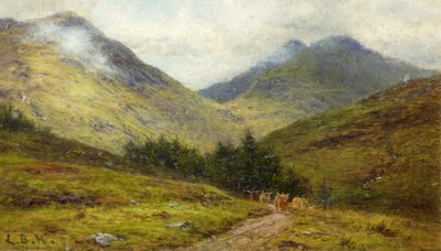 Cattle on a Highland Road Fine Art Print by Louis Bosworth Hurt