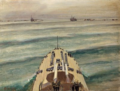 HMS Malaya Leaving a Protected Anchorage Fine Art Print by Stephen Bone
