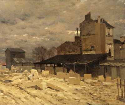 Stone Yard - Old Houses in Paris Fine Art Print by Marie Cazin