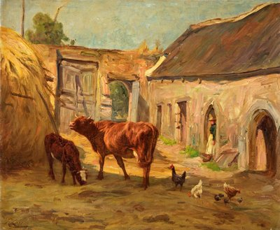 Cattle in Yard Fine Art Print by R. Corren