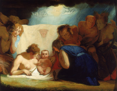 The Infant Shakespeare attended by Nature and the Passions by George Romney - print