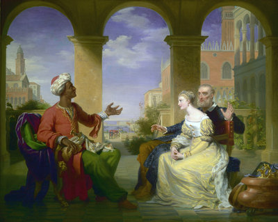 Othello relating the story of is life to Brabantio and Desdemona by Henri Jean-Baptist Victoire Fradelle - print