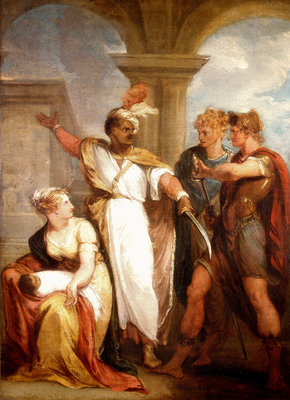 Titus Andronicus, Act IV, Sc. ii, Aaron the Moor, Demetrius, Nurse and Child by Thomas Kirk - print